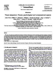 Visual adaptation: Neural, psychological and computational aspects