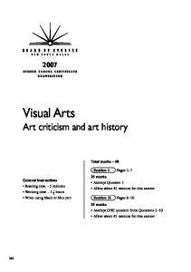 Visual Arts Art criticism and art history