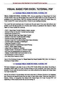 VISUAL BASIC FOR EXCEL TUTORIAL PDF