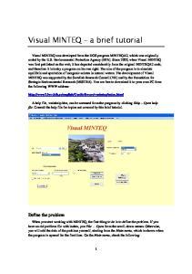 Visual MINTEQ a brief tutorial