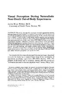 Visual Perception During Naturalistic Near-Death Out-of-Body Experiences