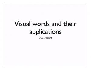 Visual words and their applications. D.A. Forsyth