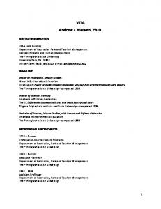 VITA Andrew J. Mowen, Ph.D