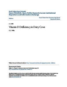 Vitamin D Defficiency in Dairy Cows