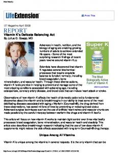 Vitamin K's Delicate Balancing Act By Julius G. Goepp, MD
