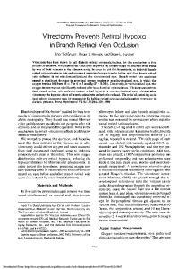 Vitrectomy Prevents Retinal Hypoxia in Branch Retinal Vein Occlusion