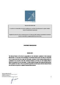 Vitruvian SCA SICAV-SIF