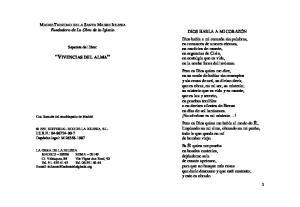 VIVENCIAS DEL ALMA. MADRE TRINIDAD DE LA SANTA MADRE IGLESIA Fundadora de La Obra de la Iglesia