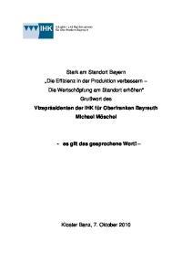 Vizepräsidenten der IHK für Oberfranken Bayreuth Michael Möschel - es gilt das gesprochene Wort!
