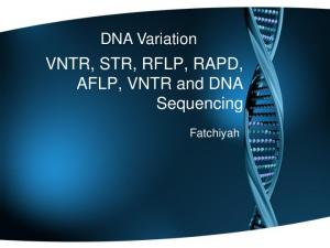 VNTR, STR, RFLP, RAPD, AFLP, VNTR and DNA Sequencing