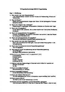 VO Ingenieurhydrologie SS2014 Fragenkatalog