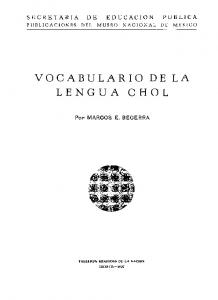 VOCABULARIO DE LA LENGUA CHOL