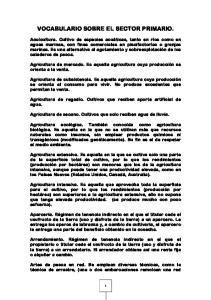 VOCABULARIO SOBRE EL SECTOR PRIMARIO