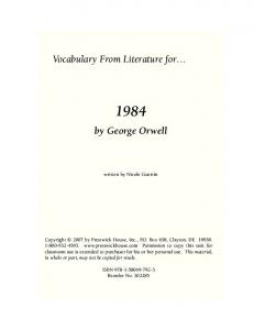 Vocabulary From Literature for. by George Orwell