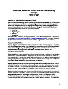 Vocational Assessment and Its Role in Career Planning