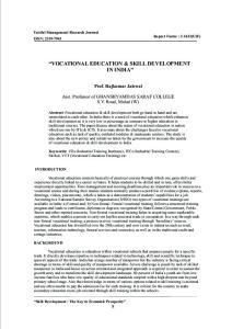VOCATIONAL EDUCATION & SKILL DEVELOPMENT IN INDIA