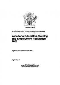 Vocational Education, Training and Employment Regulation 2000