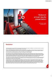 Vodacom annual results presentation