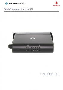 Vodafone MachineLink 3G USER GUIDE