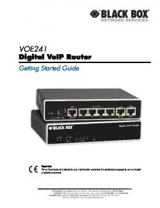 VOE241. Digital VoIP Router. Getting Started Guide