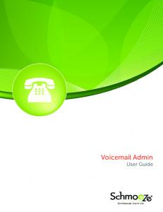 Voic Admin User Guide. Schmooze Com Inc