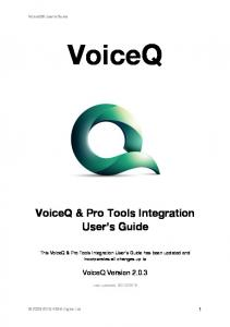 VoiceQ. VoiceQ & Pro Tools Integration User s Guide