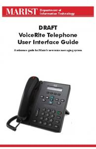VoiceRite Telephone User Interface Guide