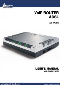 VoIP ROUTER ADSL A02-RAV211 USER S MANUAL A02-RAV211_ME01