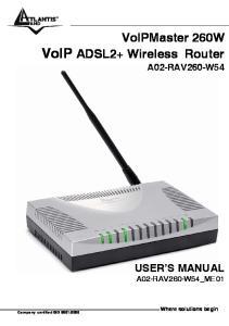 VoIPMaster 260W VoIP ADSL2+ Wireless Router A02-RAV260-W54