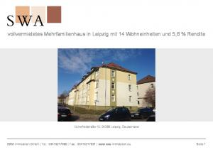 vollvermietetes Mehrfamilienhaus in Leipzig mit 14 Wohneinheiten und 5,6 % Rendite