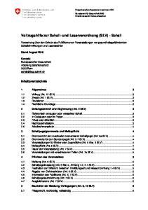 Vollzugshilfe zur Schall- und Laserverordnung (SLV) - Schall