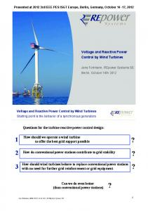 Voltage and Reactive Power Control by Wind Turbines