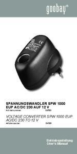 Voltage converter SPW 1000 EuP