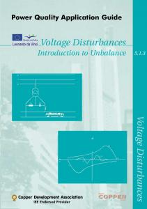 Voltage Disturbances Introduction to Unbalance