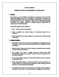 VOLTAS LIMITED CORPORATE SOCIAL RESPONSIBILITY (CSR) POLICY