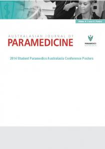 Volume 11 Issue 6 Posters Student Paramedics Australasia Conference Posters