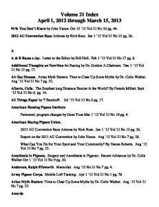 Volume 21 Index April 1, 2012 through March 15, 2013