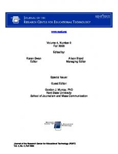 Volume 4, Number 2 Fall Edited by: Special Issue: Guest Editor: