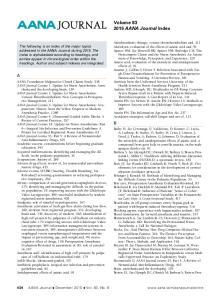 Volume AANA Journal Index
