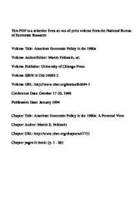Volume Title: American Economic Policy in the 1980s. Volume URL: