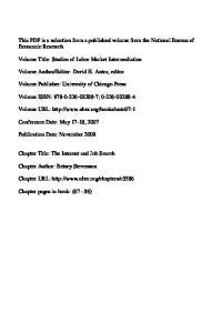 Volume Title: Studies of Labor Market Intermediation