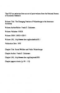 Volume Title: The Changing Position of Philanthropy in the American Economy. Volume URL: