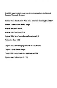 Volume URL:  Chapter Title: The Changing Channels Of Distribution. Chapter URL: