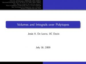 Volumes and Integrals over Polytopes