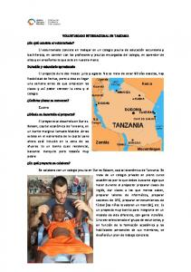VOLUNTARIADO INTERNACIONAL EN TANZANIA