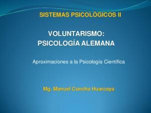 VOLUNTARISMO: PSICOLOGÍA ALEMANA