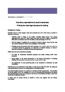 Voluntary organisations & social enterprises: Finding the right legal structure for trading