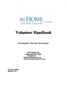 Volunteer Handbook. Stay Independent * Stay Active * Stay Connected