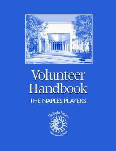 Volunteer Handbook THE NAPLES PLAYERS