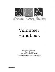 Volunteer Handbook. Volunteer Manager: Carly Brewer ext